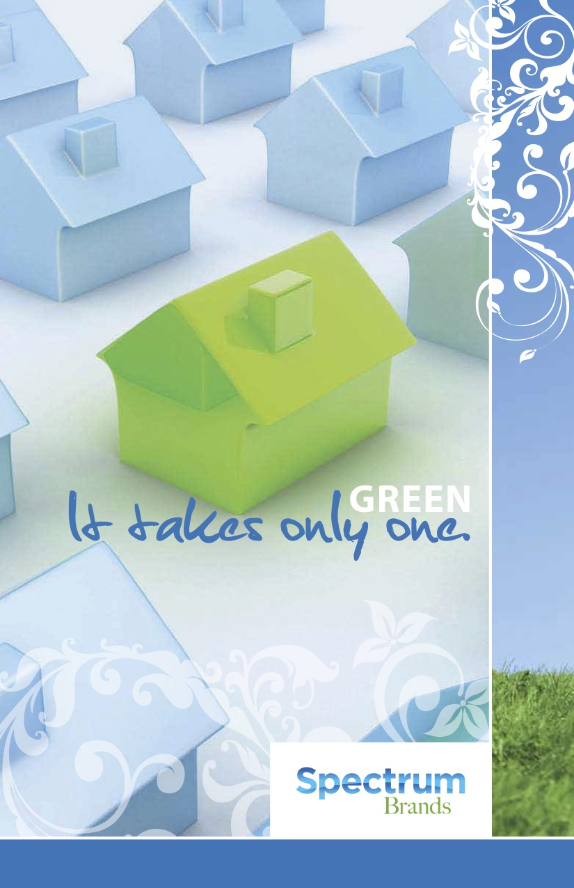 Sustainability PDF cover image of a green house on blue background