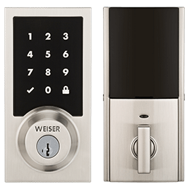 Front view of a Kevo keyless smart lock