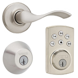 Collection Of Weiser Products Showcasing A Deadbolt, Lever And Electronic  Deadbolt