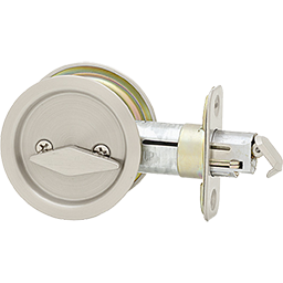 Round pocket door lock in satin nickel and other lock hardware