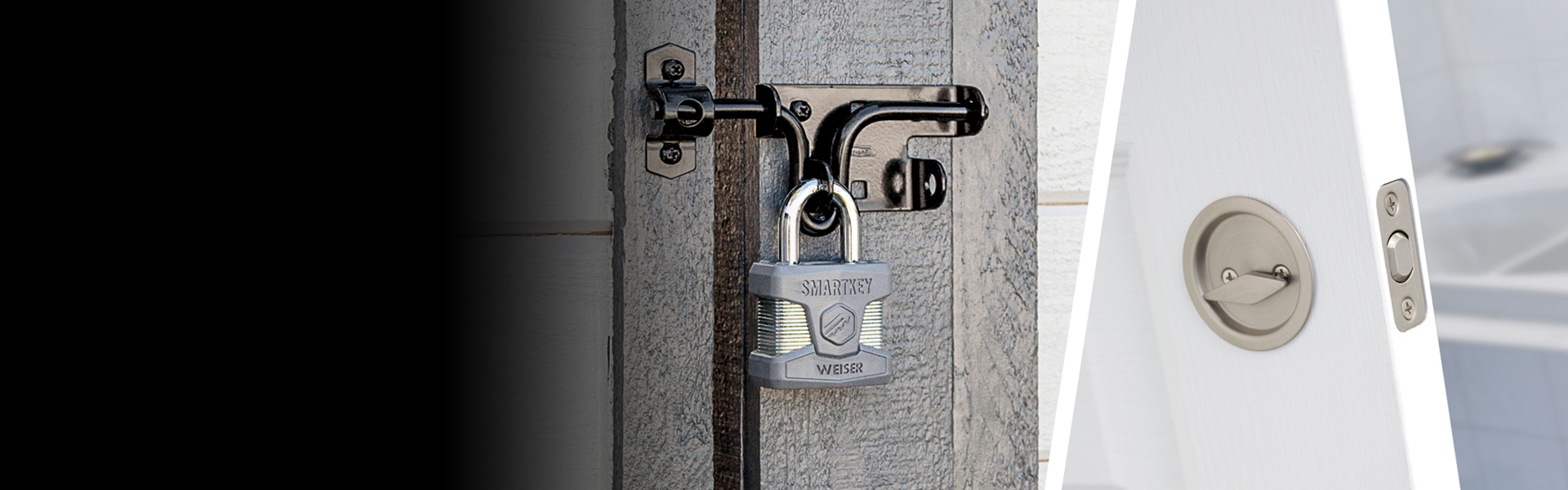 Short shackle padlock featuring SmartKey on gate and Round Pocket door lock in satin nickel