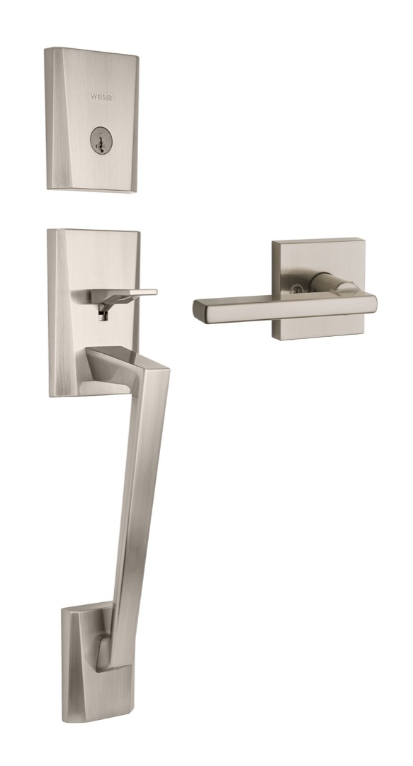 Camino handleset featuring SmartKey in satin nickel and Halifax lever