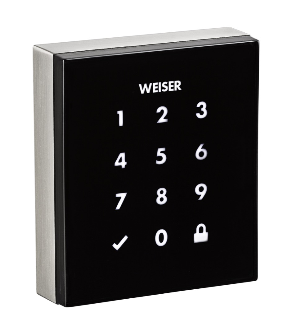 Obsidian touchscreen electronic lock in satin nickel