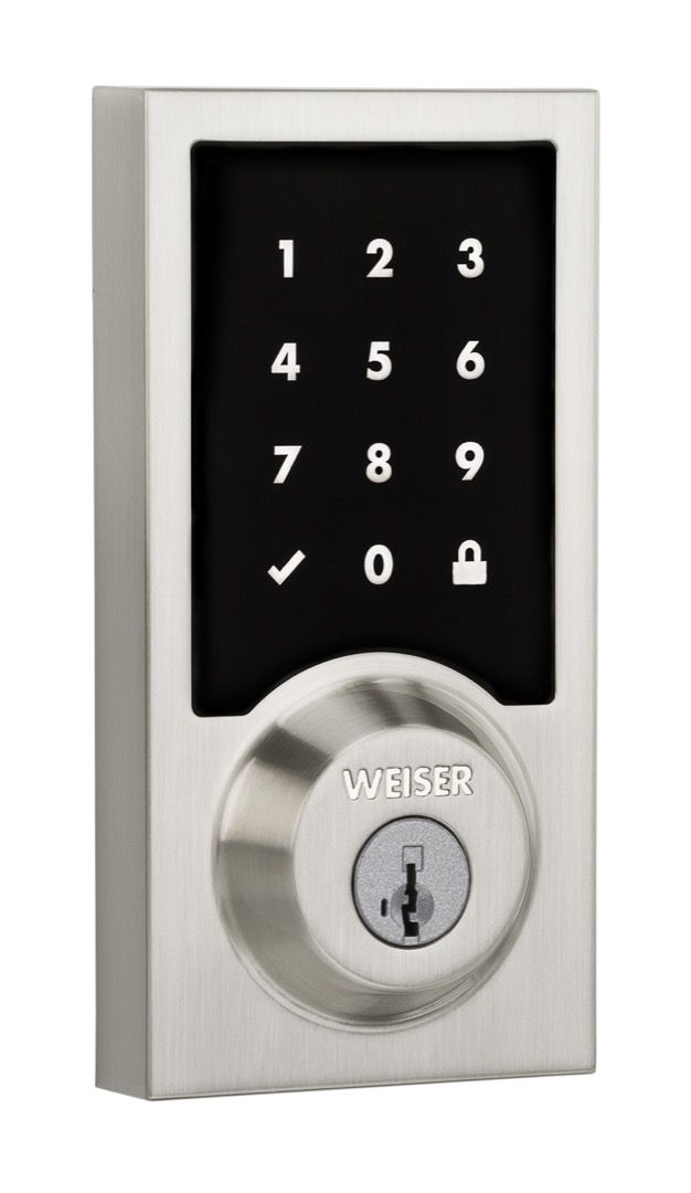 Premis HomeKit compatible electronic deadbolt in satin nickel
