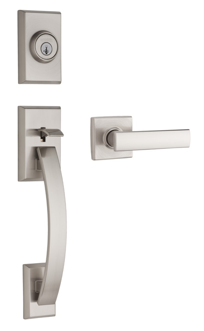 Tavaris handleset featuring SmartKey in satin nickel and Vedani lever